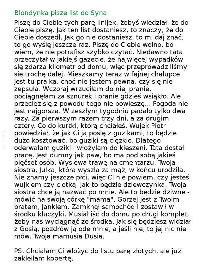 napis, reklama : Blondynka pisze list do Syna