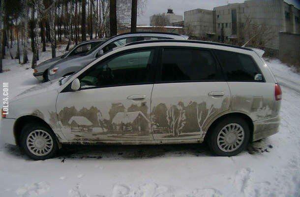 rzeźba, figurka : Nie zostawiaj brudnego samochodu pod ASP