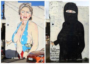 Australian street artist paints unusual Hillary Clinton mural