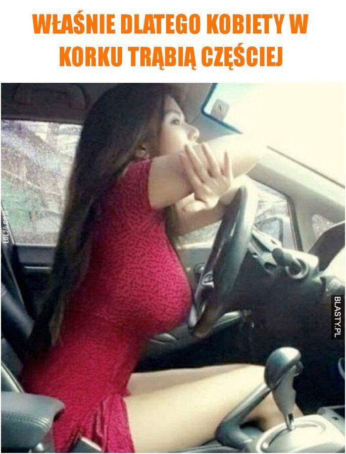 kobieta : Trąbienie w korkach