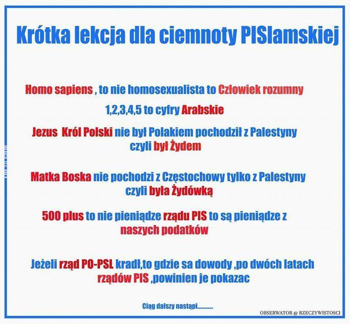 polityczna : Krótka lekcja dla ciemnoty PIS-lamskiej