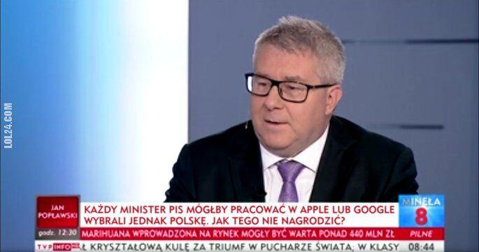 napis, reklama : Każdy minister PIS mógłby pracować w Apple lub Google