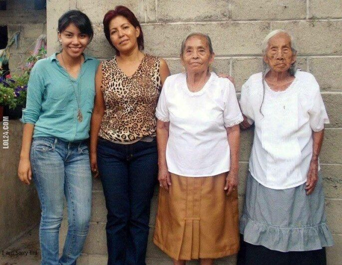 kobieta : Wnuczka(20lat) Mama(48lat) Babcia(85lat) i Prababcia(103lat)