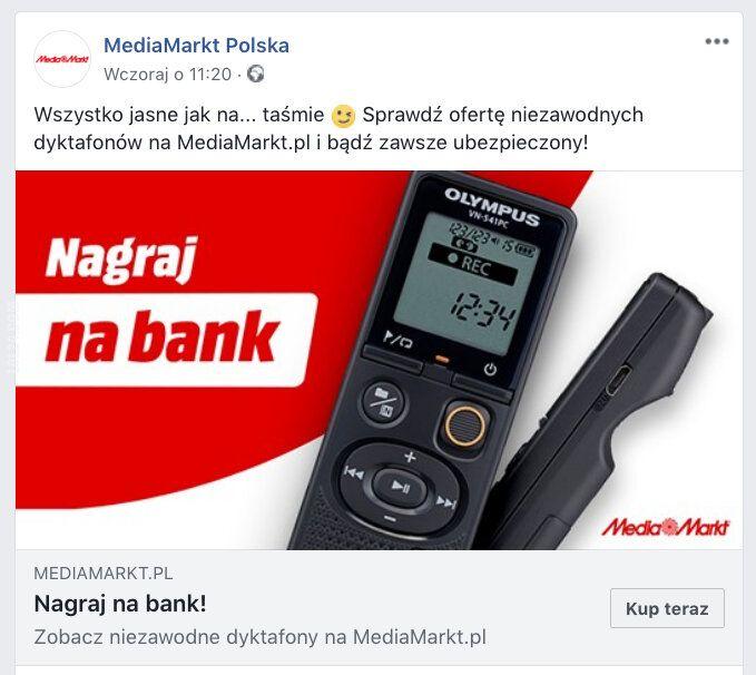 napis, reklama : Nagraj na bank - MediaMarkt