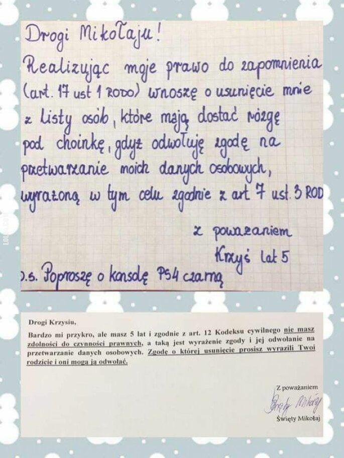 napis, reklama : Mikołaj odpowiedział Krzysiowi na list