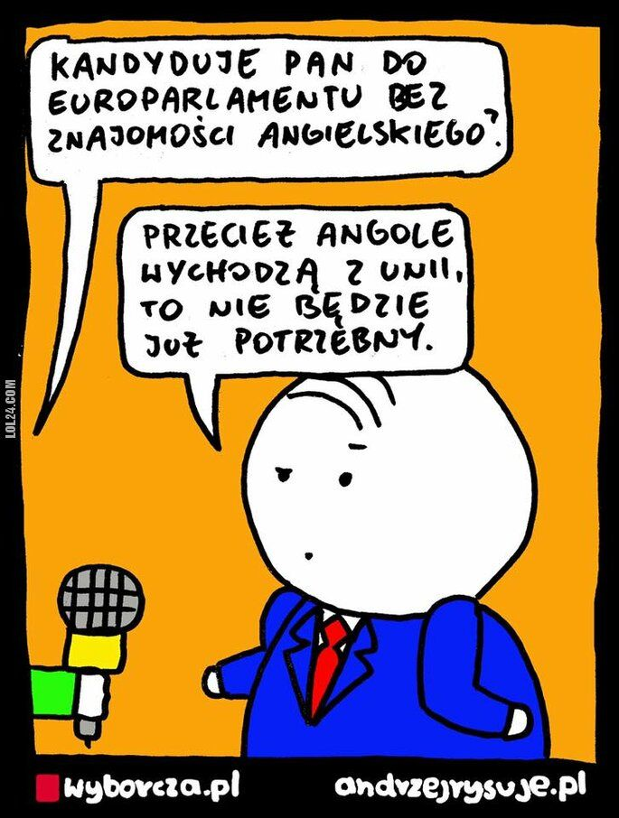 satyra : Znajomość angielskiego w europarlamencie