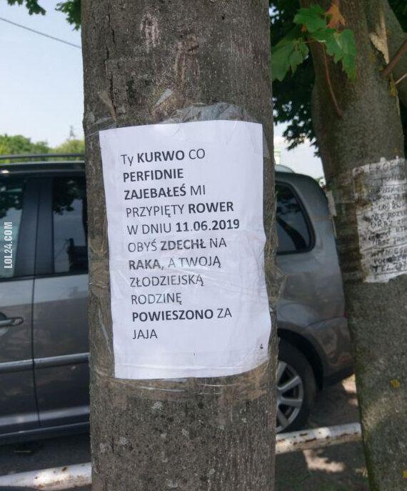 napis, reklama : Do złodzieja roweru ...