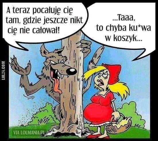 kobieta : Czerwony kapturek i wilk