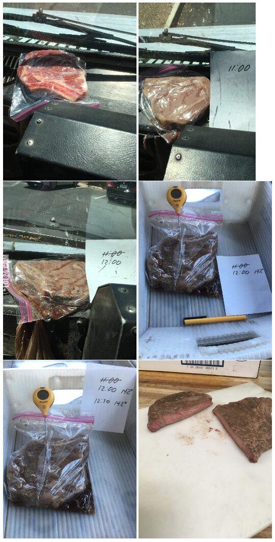 ekstremalna : Stek usmażony na desce rozdzielczej w ciężarówce