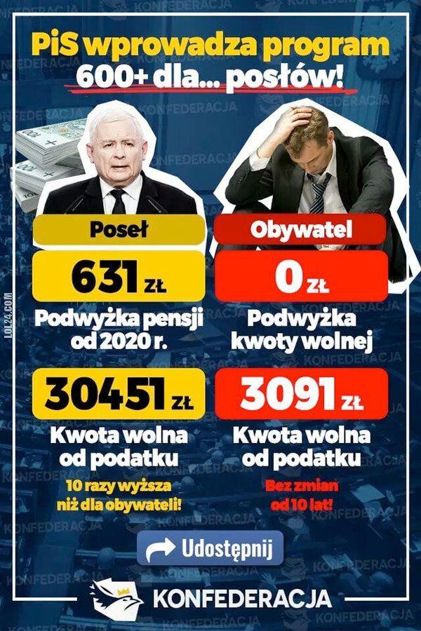 polityka : PiS wprowadza 600+ dla posłów