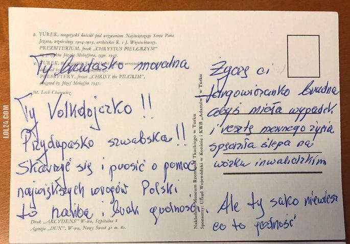 napis, reklama : Kartka pocztowa skierowana do Prezes Sądu Najwyższego