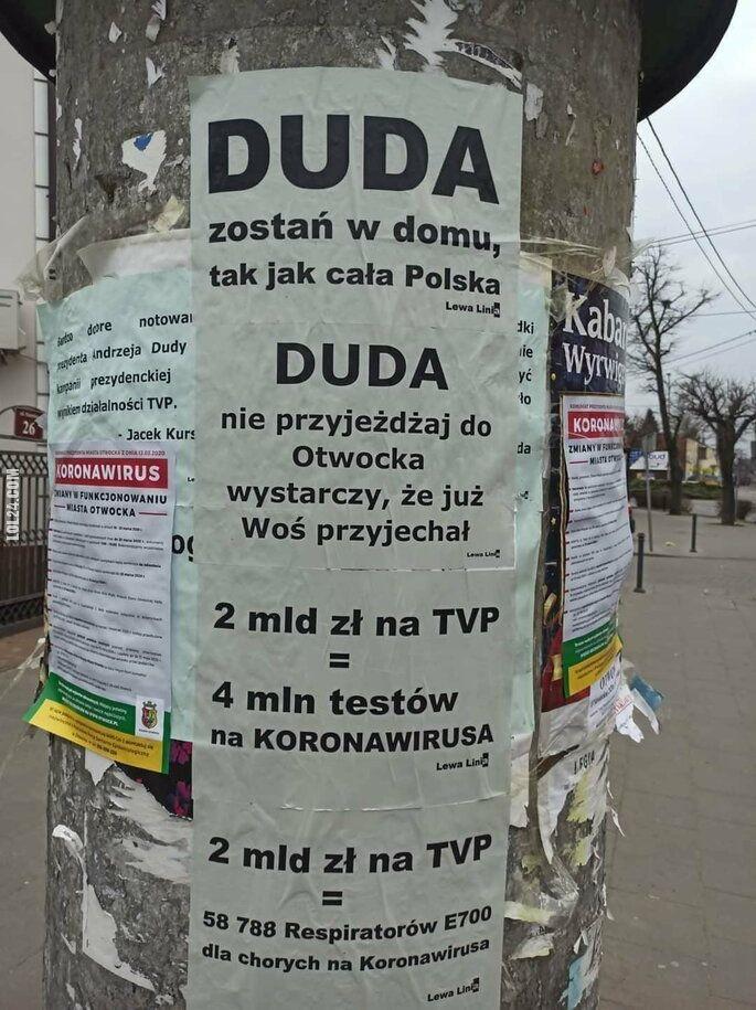 napis, reklama : Otwock: Duda zostań w domu, tak jak cała Polska