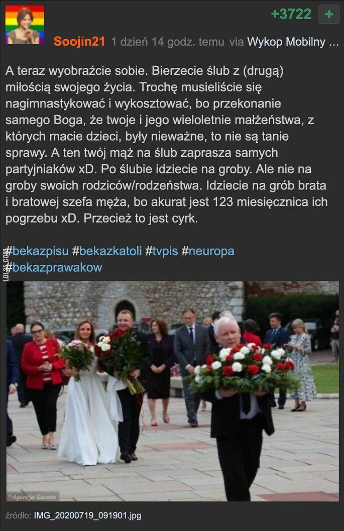 LOL : Jarosław złapał bukiet na drugim ślubie Kurskiego?