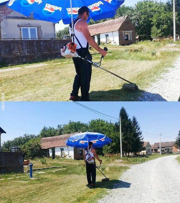 technologia : Kosiarz z parasolem