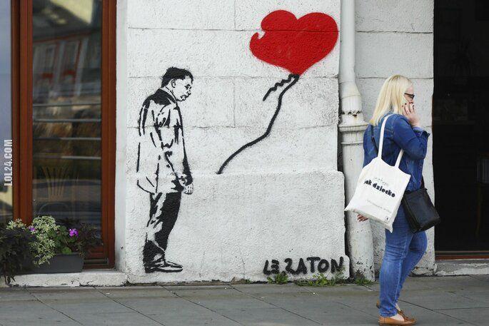 rysunek : Graffiti z Jarosławem Kaczyńskim w Krakowie