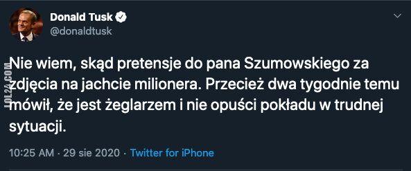 polityka : Donald Tusk o wakacjach Szumowskiego