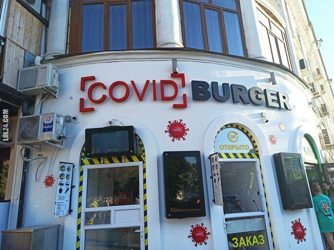 napis, reklama : COVID Burger