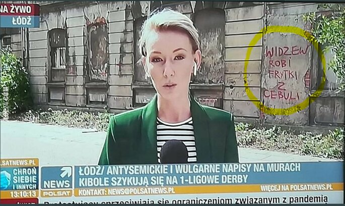 napis, reklama : Antysemickie i wulgarne napisy w Łodzi