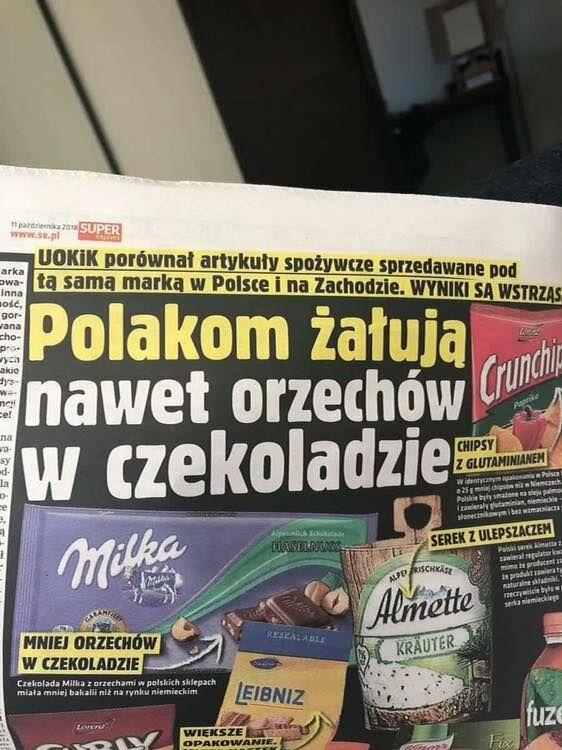 napis, reklama : Polacy zawsze poszkodowani
