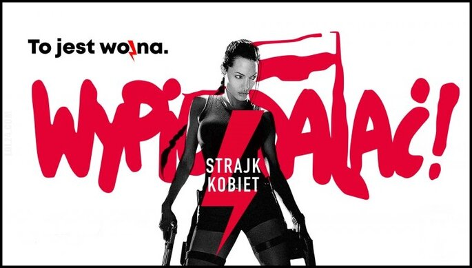 napis, reklama : Strajk kobiet - plakat