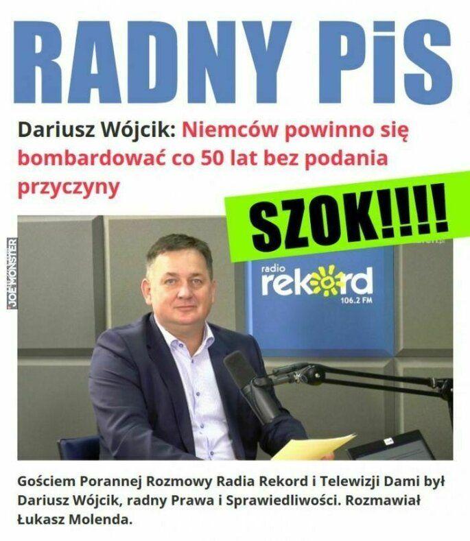 napis, reklama : Radny PiS w radiu Rekord