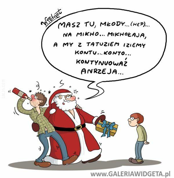 rysunek : Pijany Mikołaj
