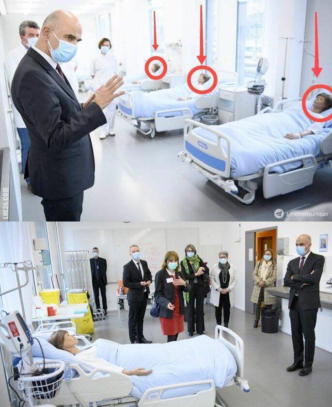 inne : W Szwajcarii przed wizytą prezydenta Alaina Berse'a na łóżkach kładzie się manekiny do sesji zdjęciowej