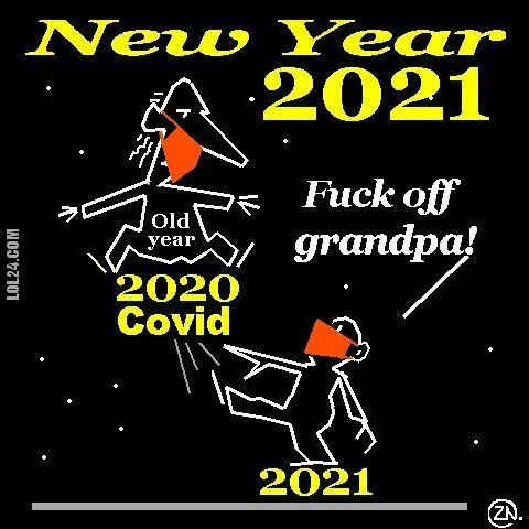 satyra : New Year 2021 satire cartoon