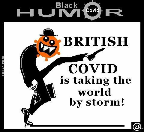 rysunek : british covid is taking the world by storm satire