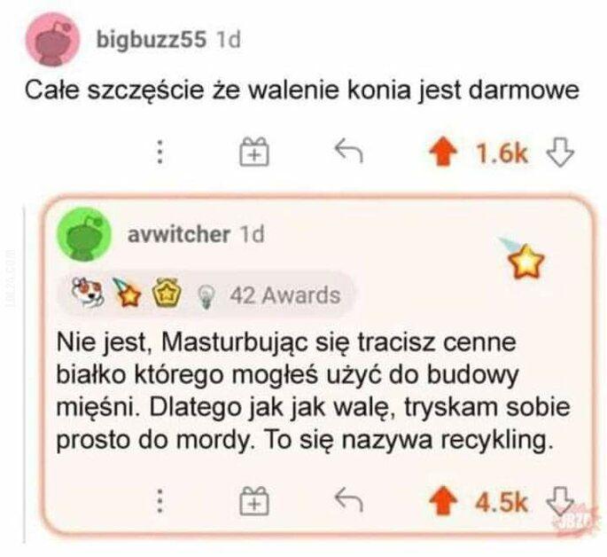 mężczyzna : Recykling