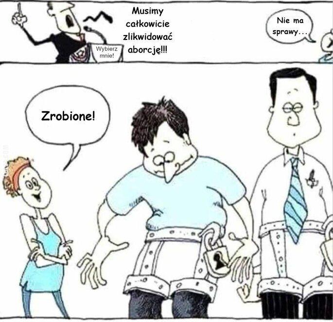 komiks : Jak pozbyć się problemu aborcji.