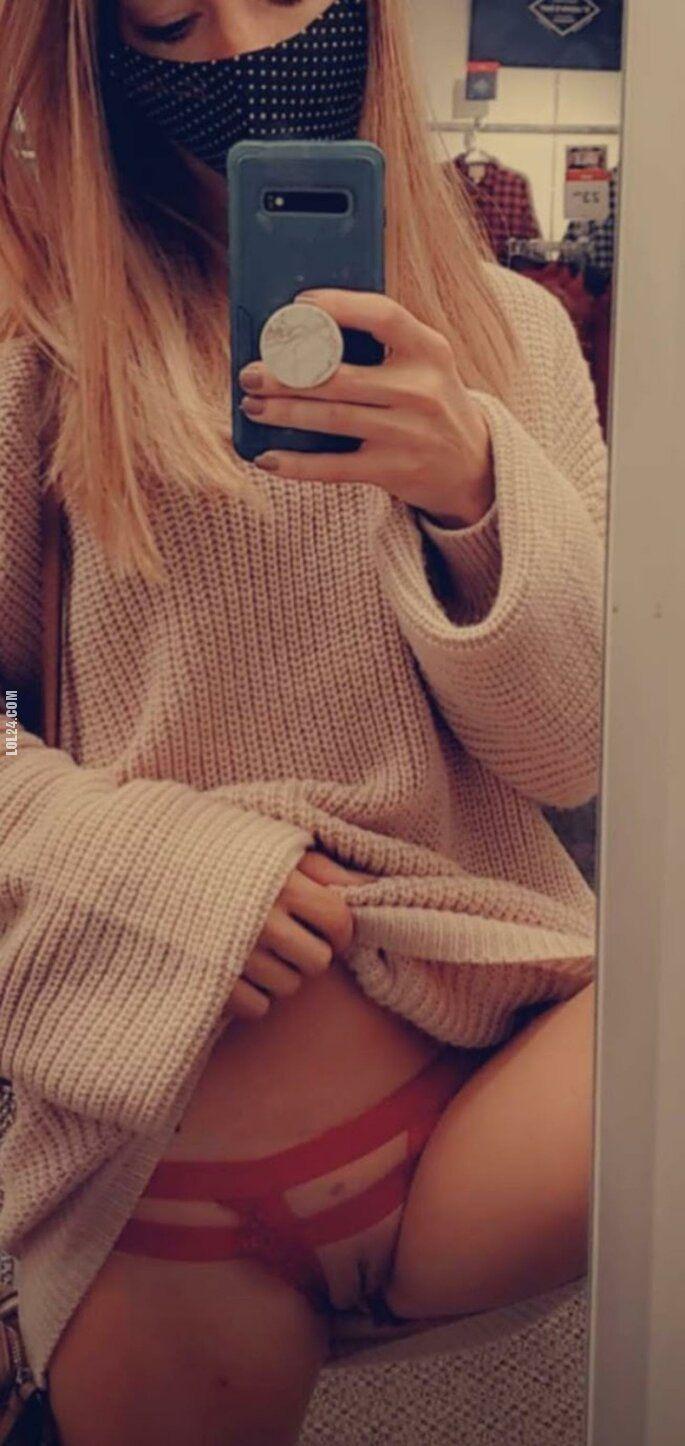 NSFW : Niegrzeczna blond włosa piękność rozbiera się w sklepie