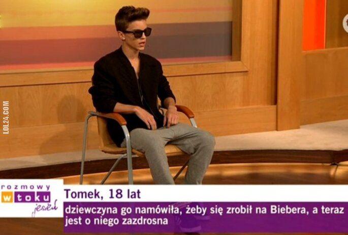 napis, reklama : Tomek, lat 18 - Polski Justin Bieber - Rozmowy w Toku