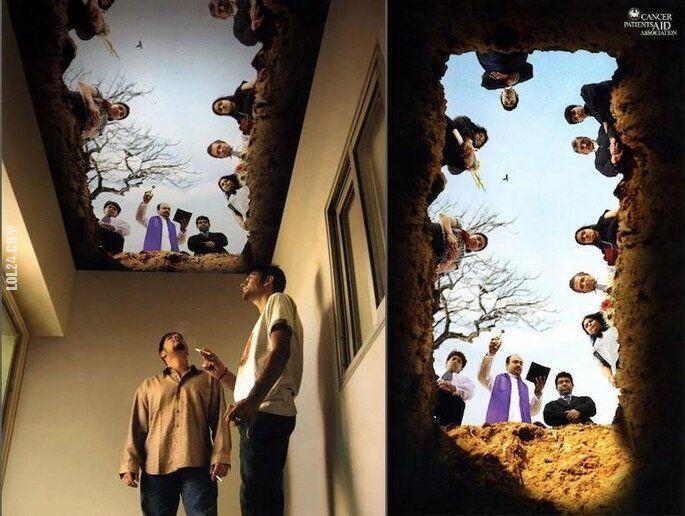 złudzenie : Fototapeta na sufit dla palaczy