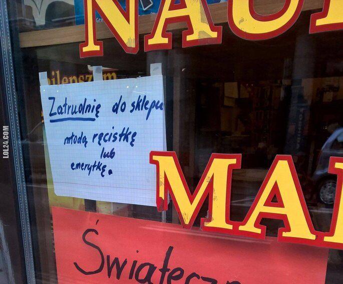 napis, reklama : Zatrudnię do księgarni młodą...