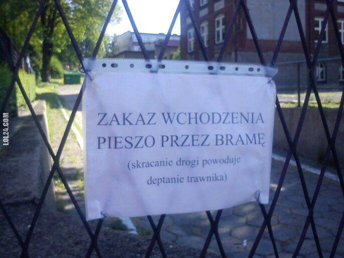 napis, reklama : Zakaz wchodzenia pieszo przez bramę