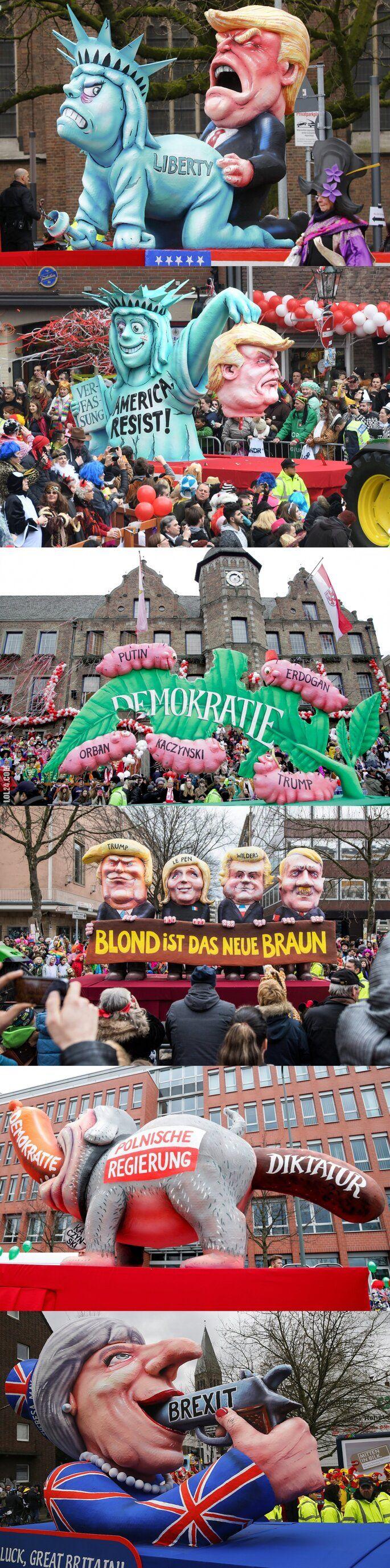 polityka : Karykatury z karnawałowej parady w Niemczech (2017)