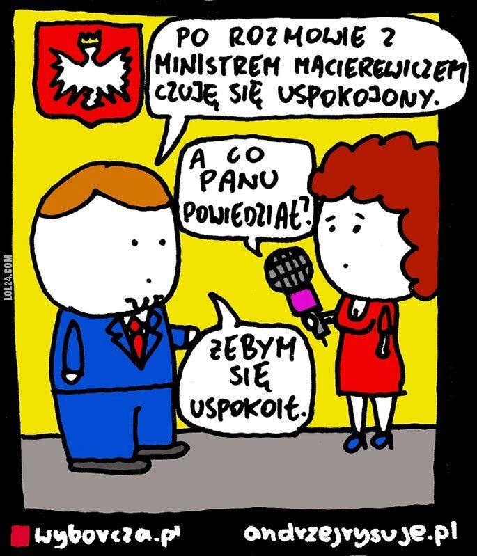 komiks : Prezydent Andrzej Duda po rozmowie z Macierewiczem