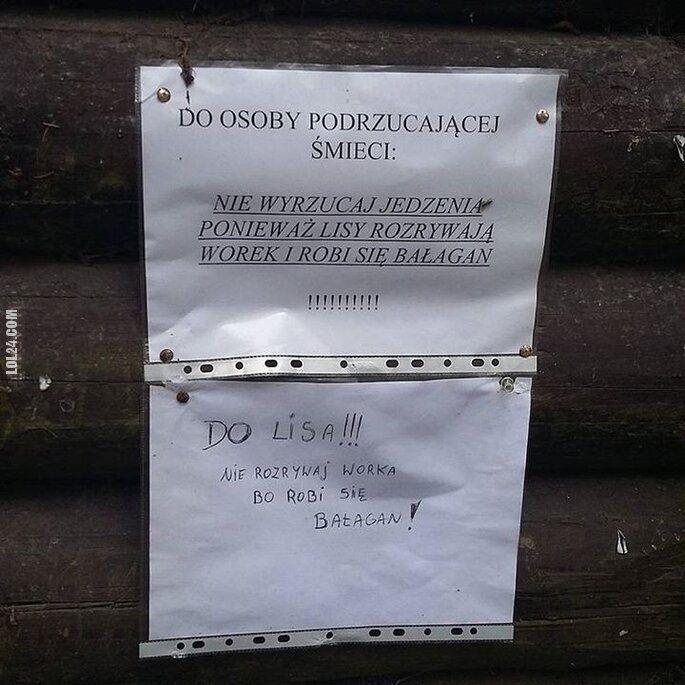 napis, reklama : Do osoby podrzucającej śmieci
