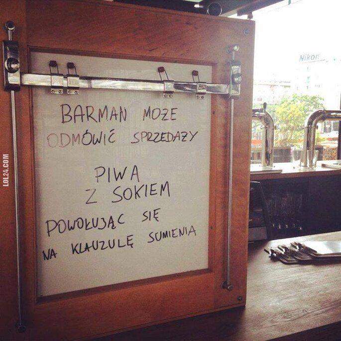 napis, reklama : Piwo z sokiem i klauzula sumienia
