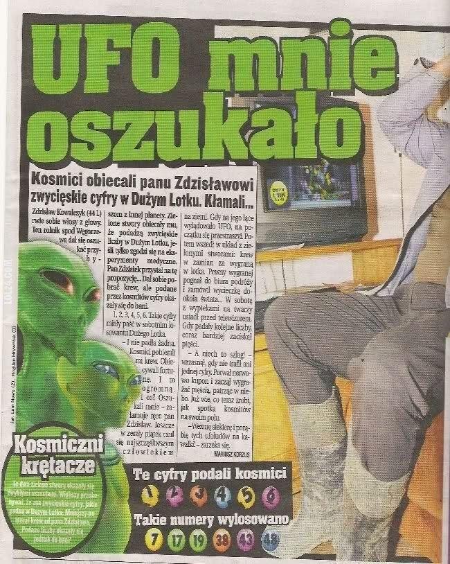 napis, reklama : UFO mnie oszukało
