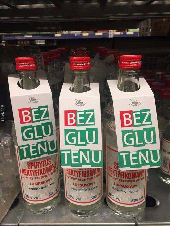 """napis, reklama : Jak zwiększyć sprzedaż spirytusu? """"Bez glutenu"""""""