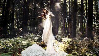 Cudowny widok, kobieta ze skrzypcami w lesie