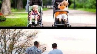 Spacer z dziećmi - mężczyźni a kobiety...