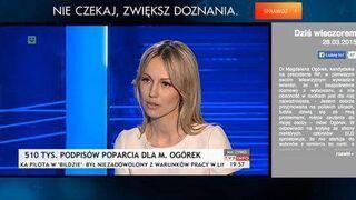 Reklama w czasie wywiadu z panią Magdaleną Ogórek