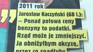 Słowa Jarosława Kaczyńskiego z 2011r. o cenie benzyny