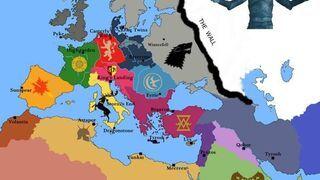 Mapa europy według Gry o Tron