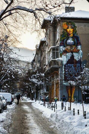 Mural słowiańskiej dziewczyny - Sofia, Bułgaria