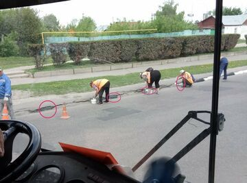Naprawa drogi w Rosji