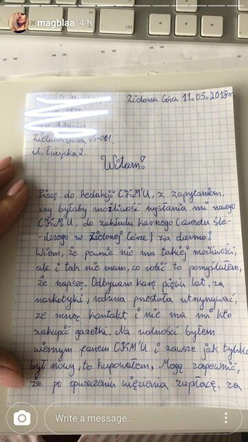 List więźnia do redakcji CKM'u